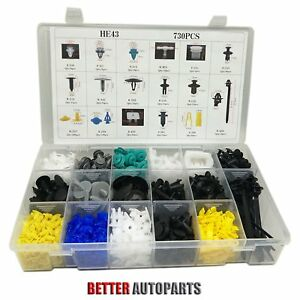 730pcs Car Body Plastic Push Pin Rivet Fasteners Trim Moulding Clip Assortments