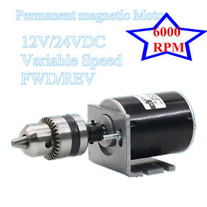 30w Dc Motor High Speed 12v 24vdc Variable Speed Mini Motor 6000rpm Drill Chuck