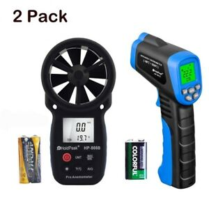 Digital Anemometer non contact Digital Laser Infrared Thermometer 2 Pack
