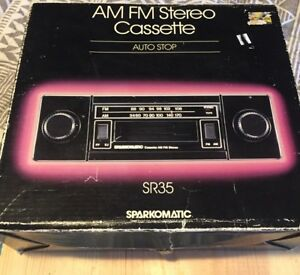 Vintage Brand New Sparkomatic Sr35 Am Fm Stereo Cassette Player W Shaft Knobs