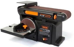 WEN 6502 Belt Disc Sander Sanding Machine Cast Iron Base Lock On Switch Tool
