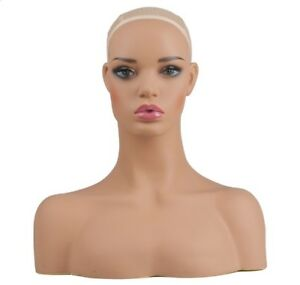 Luxury Realistic Female Fiberglass Mannequin Head Bust For Wigs jewelry glasses