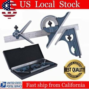12 Combination Tri Square Set Angle Finder Protractor Level Sae Metric My