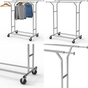 Supreme Commercial Grade Double Rail Clothing Garment Rack Chrome 250 Lbs Load
