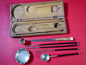 Antique Chinese Tools Paktong White Copper Silver Yen Hok Opium Period In Case