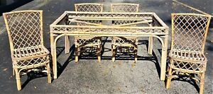 Vtg 5 Pc Mid Century Modern Bamboo Rattan Bentwood Dining Set Table W 4 Chairs