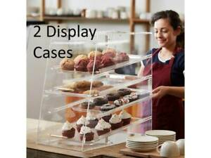 4 Tray Bakery Clear Acrylic Pastry Pastries Display Case With Rear Doors