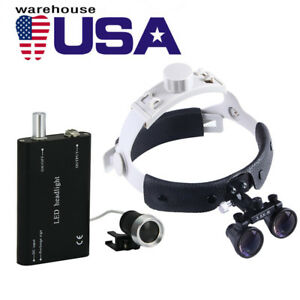 Usa Dental Surgical Medical 3 5x Headband Binocular Loupes Led Headlight Black