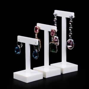 White Acrylic Earring Display Holder With T shaped Jewelry Displays Stand