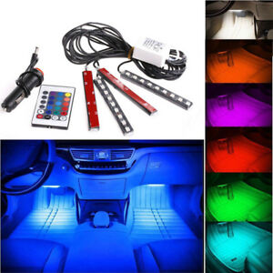 4pcs 9led Remote Control Colorful Rgb Car Interior Floor Decor 12v Lights Strips