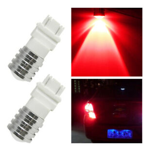 2x 3156 3157 Red Cree Led Stop Tail Brake Lights Bulbs For Chevy Silverado 2500