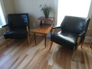 Mid Century Club Chairs Art Deco Retro Lounge Chairs Black Patent Leather