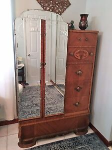 Antique Wood Armoire Wardrobe Chest Of Drawers Etched Mirrored Doors