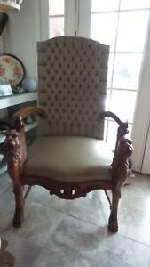 Antique Carved Winged Griffin Throne Chair French Victorian Gothic