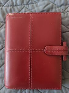 Filofax Cross Red Italian Leather Pocket Planner used