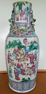 Lg Antique Chinese Porcelain Floor Vase Intricate Detailed Hand Painted Scenes