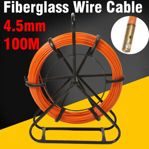 Fish Tape Fiberglass Wire Cable Running Rod Duct Rodder Puller 4 5mm 100m Us
