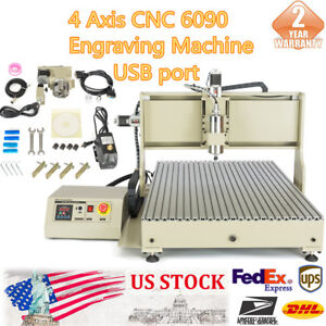 Usb 4 Axis Cnc 6090 Router Engraver Diy Drilling Milling Cutting Machine 2 2kw