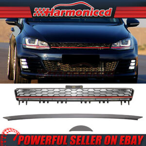 Fits 15 16 Vw Golf 7 Mk7 Black Red Trim Front Hood Grille Grill Abs Gti Style