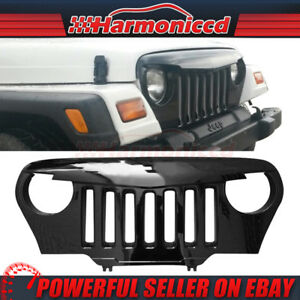Fits 97 06 Jeep Wrangler Tj V1 Angry Bird Front Mesh Grille Gloss Black Abs