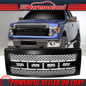 Fits 09 14 Ford F150 Raptor Style Luxury Front Bumper Hood Grille Grill Black