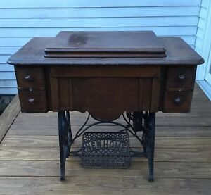 Antique 1906 New Home Treadle Sewing Cabinet Mahogany W Cast Iron Base Exc Cond