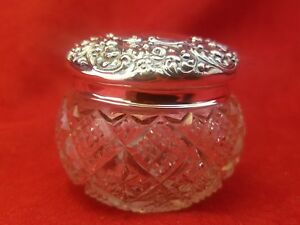 Sterling Cut Glass Powder Dresser Jar Vanity Jar Djiw19