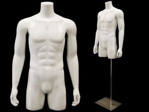Male Torso Mannequin 3 4 Body Glossy White With Metal Stand