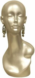 Female Mannequin Display Head silver Fiberglass With Earring Holes