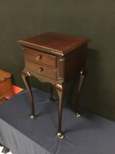 2 Drawer Solid Mahogany Queen Anne Nightstand