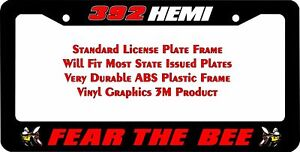 Scat Pack Fear The Bee 392 Hemi Red Custom License Plate Frame