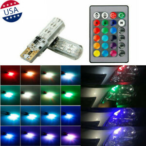 2x Multi Color Rgb T10 194 Wedge Led W Remote For Parking Side Strobe Lights