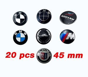20pcs Bmw 45mm Steering Wheel Badge Sticker Emblem Logo Suitable Car Oem Blu wht