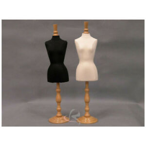 Miniature Jewelry Display Female Dress Form pair Fully Pinnable W Base