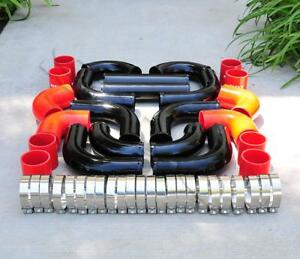 12 Pcs 2 5 Universal Black Intercooler Piping Red Silicone Coupler Clamp Kit