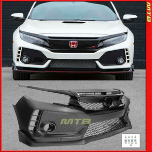 Front Bumper Cover With Glossy Black Grille For 16 18 Honda Civic Coupe Sedan