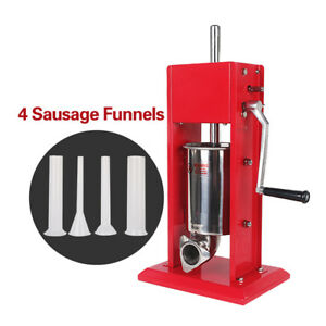 Commercial 3l Vertical Manual Sausage Filler Stuffer Double Speed 4 Plastic Tube