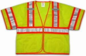 4 5 Extra Large Polyester Mesh Fluorescent Yellow Green Safety Vest Only One