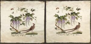 Pair Of Vintage Chinese Silk Embroidery Panel With Birds