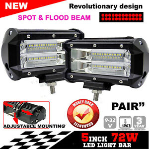 5inch 72w Square Led Work Flood Light Bar Driving Car Truck Suv Offroad Fog Lamp
