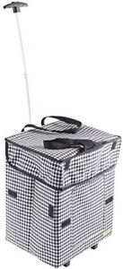 Bigger Smart Cart Houndstooth Multipurpose Rolling Collapsible Utility Cart Bas
