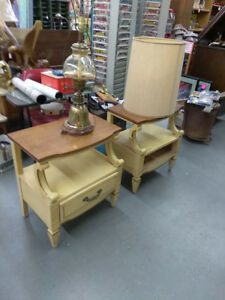 Vintage Mid Century Kent Coffey French Provincial Pair Night Stands End Tables