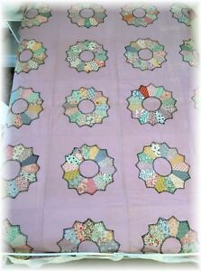 Vintage Dresden Plate Quilt Top Squares Blocks Hand Stitched Feed Sack