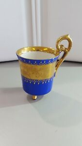 Antique Royal Vienna Blue And Gold Tri Footed Demitasse Cup Bee Hive Mark