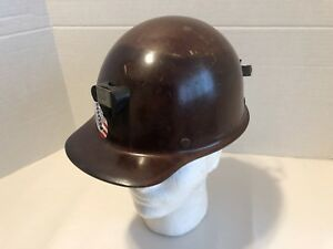 Msa Brown Hard Hat Used Fibreglass Skullgard