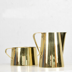 1960s Creamer And Sugar Bowl By Tommi Parzinger For Dorlyn Brass Midcentury