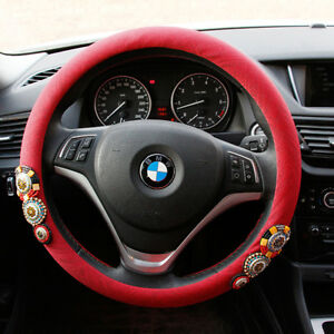 Vintage Beaded Steering Wheel Cover Car Red Retro Accessories Interior For 38 Cm
