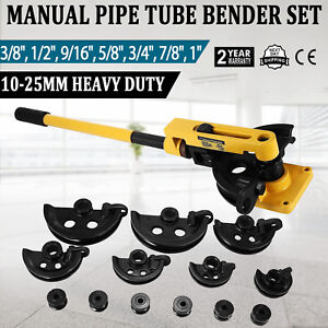 Manual Pipe Tube Bender Set 3 8 1 2 9 16 5 8 3 4 7 8 1 W 7 Dies Tool Kit