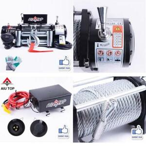 Aiu Top 12000lbs Atv Utv Electric Recovery Winch For Truck Trailer Suv Jeep