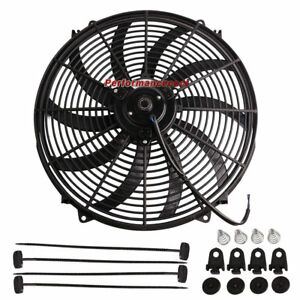 16 Inch Universal Slim Fan Push Pull Electric Radiator Cooling With Mount Kit Ez